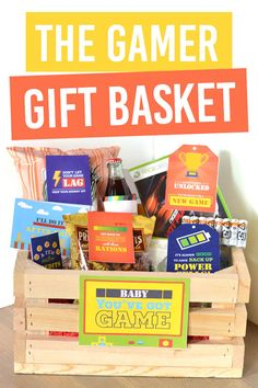 DIY Father's Day Gift Idea- Gamer Gift Basket for Him! The perfect gift idea for any guy that loves video games Gifts For Gamer Boyfriend, Boyfriend Care Package, Boyfriend Gift Basket, Gamer Gifts, Birthday Gifts For Boyfriend, Surprise Boyfriend, Boyfriend Ideas, Gift Baskets For Him, Themed Gift Baskets