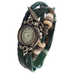 Retro Women Bracelet Watch with Leaf Pendant Design and 12 Arabic Numbers Hour Marks - Random Color
