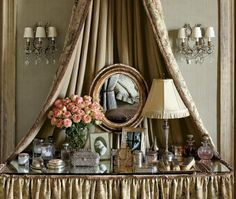 Dressing tables originated in 18th century France. They were called 'toilette' or 'toilet tables' because women used to wrap their cosmetic items in a small, square linen cloth (the toilette) before they put them in a chest.
