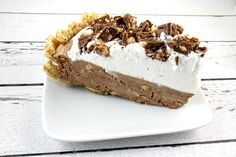 Recipe for an easy Candy Bar Pie- made with milk chocolate candy bars and chocolate- toffee candy bars.