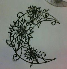 sunflower moon tattoo idea
