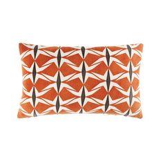 Coussin en coton terracotta motifs graphiques 30x50