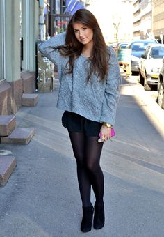 00dee98d4e32 Gorgeous grey knit with mini+stockings. AUTUMN WINTER. Shorts With Tights