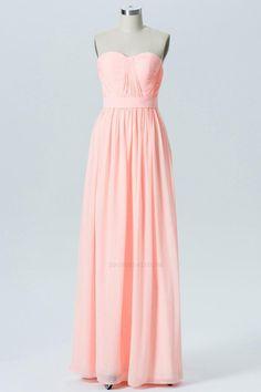 bbae273bb820 Peach Sherbet A Line Floor Length Sweetheart Spaghetti Mid Back Cheap  Bridesmaid Dresses