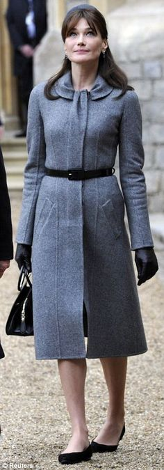 Power flat queen: Carla Bruni-Sarkozy long wore power flats to carry out her First Lady of France duties. Beautiful coat, lovely panels