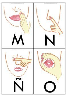 Con este abecedario hemos tratado de hacer que los fonemas se aproximen a su punto de articulación y que el gesto se acerque a la escritura...