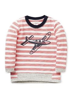 100% Cotton long sleeve tee with all over yarn dyed stripe and front plane placement print. Features contrast hem and neck band as well as shoulder snaps for easy dressing.