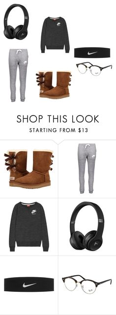 """Lazy Day Outfit #4"" by itsmeabbii ❤ liked on Polyvore featuring UGG, NIKE and Ray-Ban"