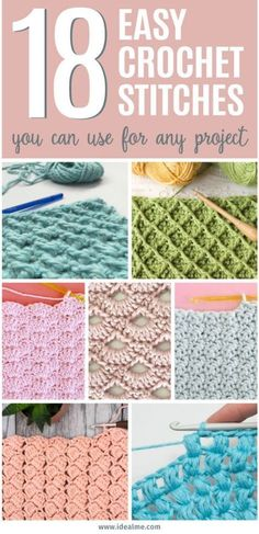 If youre ready to give crochet a try, weve got you covered. Weve found 18 easy crochet stitches you can use for any project to get you started. Once youve learned a few basic stitches, you can tackle any simple crochet projects with ease. - The Crocheting Crochet Simple, Easy Crochet Stitches, Crochet Basics, Crochet For Beginners, Knit Or Crochet, Crochet Crafts, Free Crochet, Embroidery Stitches, Crochet Tutorials