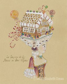 Gingerbread House Candy Cane Gumdrop Marie by ElizabethOcean, $20.00