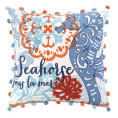 North Shore Seahorse Embroidered Pillow
