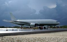 B777 on the ground at Providenciales. The first of the type to land there.