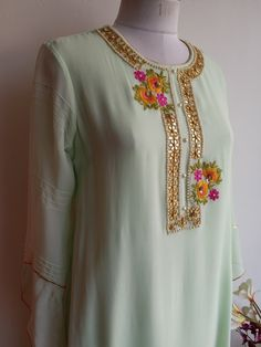 Mint Green Pastel colour Kurta with Gota Patti and Resham handwork with Pintuck sleeve details Neck Designs For Suits, Neckline Designs, Kurti Neck Designs, Blouse Designs, Embroidery On Kurtis, Kurti Embroidery Design, Embroidery Dress, Indian Embroidery Designs, Gala Design