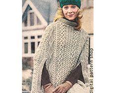 Knitting PATTERN Oversized Poncho Cape by AshleyLillisHandmade