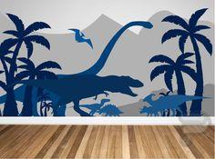Dinosaur Wall Decal / Dinosaur Mural / Peel and Stick Mural / | Etsy