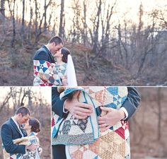so cozy - love the quilted blanket for winter wedding photos