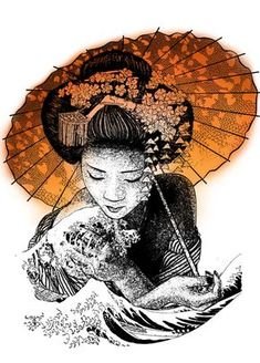 One of my drawings with a japanese theme of a #geisha and hokusai's Great Wave.