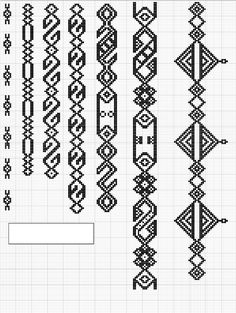 Charted Patterns from Medieval Egypt - Pattern Darning - Charted Patterns from M. Cross Stitch Geometric, Beaded Cross Stitch, Cross Stitch Borders, Cross Stitch Designs, Cross Stitch Embroidery, Cross Stitch Patterns, Hand Embroidery Designs, Embroidery Patterns, Knitting Charts