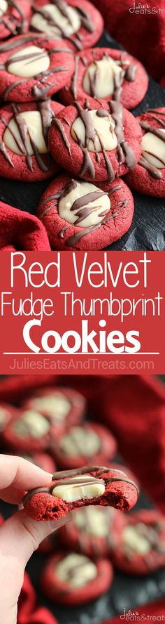 Red Velvet Fudge Thumbprint Cookies ~ Soft, Chewy Red Velvet Cookies Filled with White Chocolate Fudge and Drizzled with Chocolate! via @julieseats