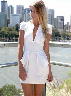 White Skater Dress with Deep V-Front & Pleated Detail,  Dress, cap sleeve dress  v-neckline, Chic