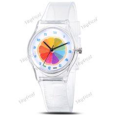 Мода Новые Kid Детский Красочные оранжевый Pattern Кварцевые аналоговые часы с Прозрачный пластиковый ремешок наручные часы WWT-