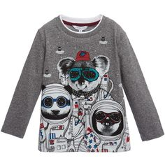 Boys grey marl long sleeved t-shirt by Little Marc Jacobs made from super soft, lightweight cotton jersey with a quirky 'Space Koala' print on the front.<br /> <ul> <li>100% cotton (super soft, lightweight jersey)</li> <li>Machine wash (30*C)</li> <li>Space koala print</li> </ul>