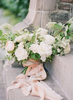 """It really doesn& get much more romantic than this! Inspired by the beautiful historic GRAYDON HALL in Toronto, VASIA PHOTO + ARTIESE STUDIOS took advantage of the gorgeous English style gardens and the stonework of the buildings for this shoot. """"We wan Bridal Flowers, Flower Bouquet Wedding, Floral Wedding, Ivory Wedding, Bride Bouquets, Bridesmaid Bouquet, Greenery Bouquets, Timeless Wedding, Elegant Wedding"""