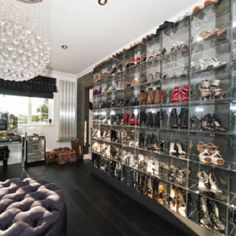 Oh to have a closet with a wall of shoes...
