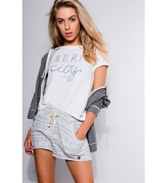 Double Agent Relaxed Raw Hem Shorts With Grey Strip Pattern Clothing Cotton Shorts Shorts Soft Shorts, Cotton Shorts, Surf City, Casual T Shirts, Slogan, Catwalk, Surfing, Clothes For Women, Lady