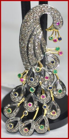 """Signature Victorian Collection....known for its international taste and appeal!    """"Peacock Royale""""...only $650 or P28,600!!  3.31ct ROSE CUT DIAMOND GEMSTONE ANTIQUE VICTORIAN SILVER PEACOCK BROOCH/PENDANT! Imported, world-class quality, not pre-owned, not pawned, not stolen. We deliver worldwide <3"""