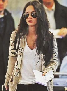 Megan Fox sporting our TNA Sea To Sky sweater with a pair of oversized aviators—celebs, they're just like us!