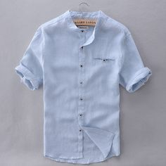 French Style Brand Shirt Men Linen Summer Short Sleeve Casual Men Shirt Fashion Solid Shirts Mens Business Clothing Mens Shirts