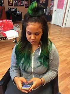 Full weave sew in green hair