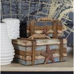 Neutral Coastal decor - Litton Lane Coastal Rectangular Wooden Plank Boxes (Set of