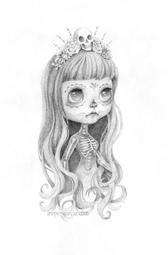 "5x7 inch print of ""Milagritos"". The original graphite drawing was made by Irene Garcia and inspired by her custom Blythe ""Calavera"" dolls. The prints are made using high quality archival Canon Lucia inks and printed on Moab Rag Bright acid free paper.     This is an edition of only 25 prints. Onc..."