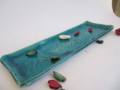 turquiose glazed ceramic tray.with leaf inprint by stellakeramika on Etsy