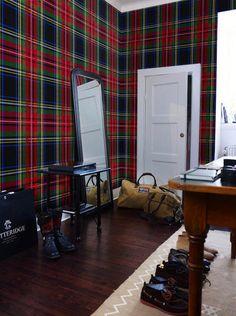 papel pintado tartán escocés rojo, telas & papel