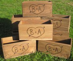 4 Large Rustic Wedding Wooden Barnwood Box Centerpiece Flowers Personalized Woodburned Initials