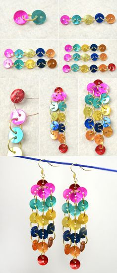 Tutorial on on How to Make Rainbow Dangle Button Earrings from LC.Pandahall.com