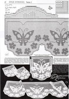 Photo & diagram * Rough edge * Non-continuous Filet Crochet Charts, Crochet Borders, Crochet Motif, Crochet Doilies, Knit Crochet, Tatting Patterns, Crochet Stitches Patterns, Thread Crochet, Stitch Patterns