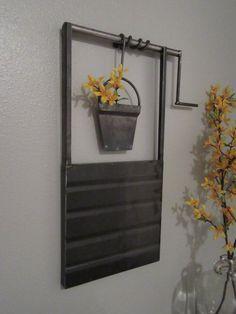25 in. Metal Water Well With Bucket Wall Art-Metal by MudDauberMtg