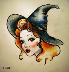Cute witch tattoo. This would be awesome as a pinup.