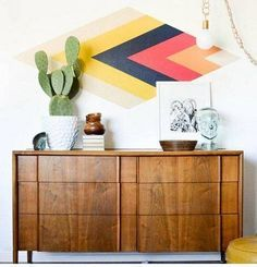 wallpaper design ideas aztec print wall with painters tape - paint directly on wall