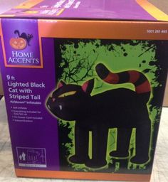 9' TALL GEMMY SCARY BLACK CAT STRIPED TAIL AIRBLOWN INFLATABLE HALLOWEEN PROP