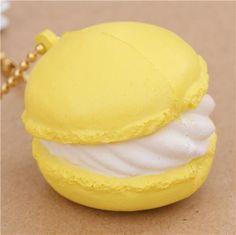 cute small yellow macaron with white cream squishy cellphone charm kawaii 2