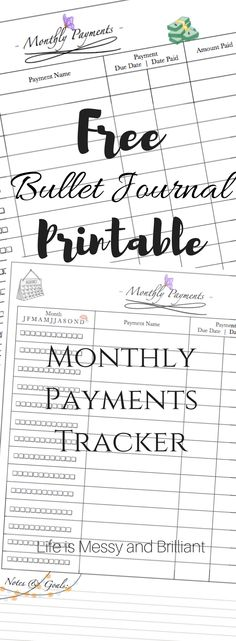 FREE Bullet Journal Monthly Payments Tracker Printable
