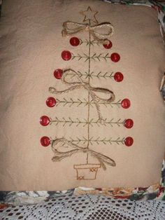 Primitive Stitchery Christmas Tree Pillow, Christmas Decor, Rustic, Sampler, Country Decor x pillow Primitive Embroidery, Primitive Stitchery, Primitive Patterns, Primitive Crafts, Primitive Snowmen, Vintage Embroidery, Wood Crafts, Simple Embroidery, Christmas Sewing