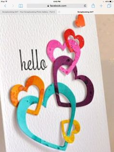Love this heart-y card! - Karten - Welcome Haar Design Online Craft Store, Craft Stores, Anniversary Crafts, Scrapbooking Photo, Image Paper, Blush Wedding Invitations, Summer Wedding Colors, Rainbow Birthday, Origami Easy
