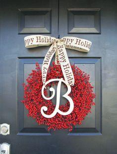 Monogram Winter Wreath Christmas Wreath Red Berry by ElegantWreath