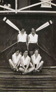 Crew of YWCA four outside Gardners boatshed, Sydney by Australian National Maritime Museum on The Commons, via Flickr